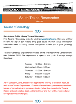 Texana/Genealogy's South Texas Researcher April 2016